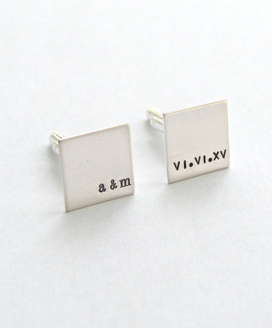 Personalized Sterling Silver Square Cuff Links w/ Custom Name, Date, Phrase