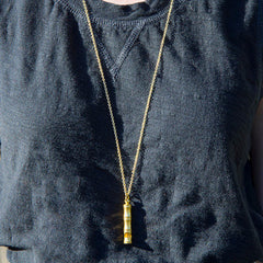 Bamboo Whistle Necklace Brass (Gold or Antiqued Silver Finish)