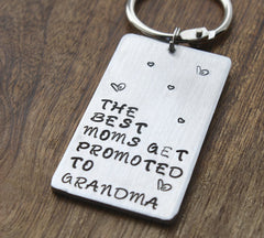 Personalized Grandmother Keychain: Custom Initials, Date, Monogram (Best Moms Get Promoted to Grandma)