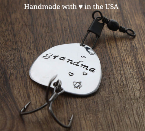 Personalized Grandma Fishing Lure: Custom Date, Message, Name (Grand Mother's Gift)