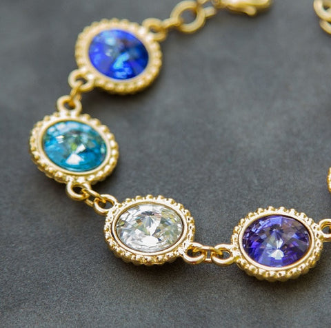Personalized Bracelet in 14K Gold w/ Swarovski Crystal Birthstones