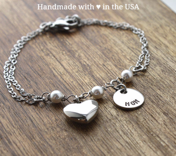Personalized Mom Bracelet with Charm & Heart (Mother's Gift)