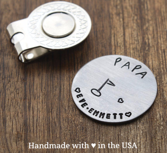 Personalized Papa Golf Ball Marker w/ Custom Name (Father Gift)