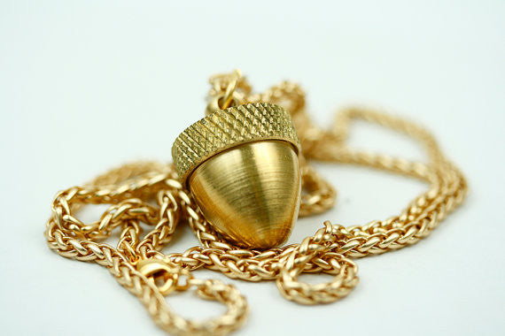 Long Gold/Antiqued Silver Acorn Pendant Necklace (Locket with Chain)