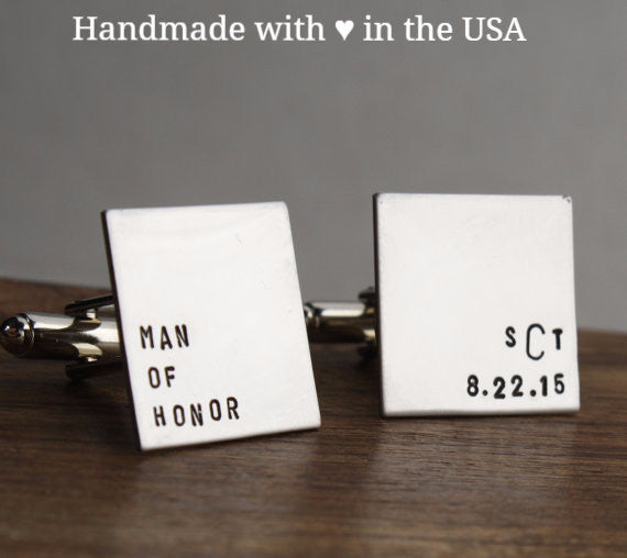 Personalized 'Man of Honor' Cufflinks with Custom Initials & Date