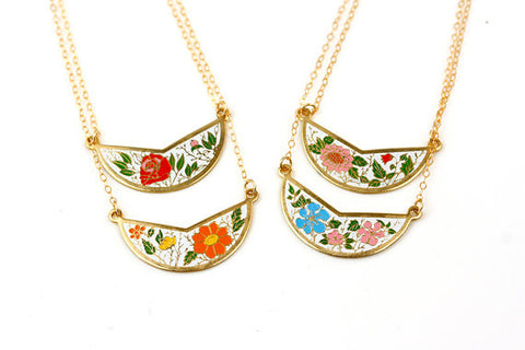 Vintage Bib Floral Cloisonné Pendant Necklace (Authentic 1960s)