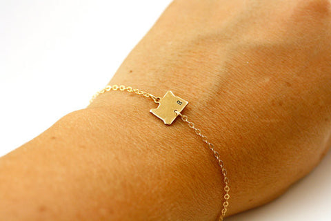 Personalized STATE Bracelet w/ Custom Initial or Heart (All 50 States, Gold or Silver)