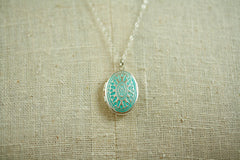 Oval Aqua Silver Locket Necklace with Double Dipped Chain
