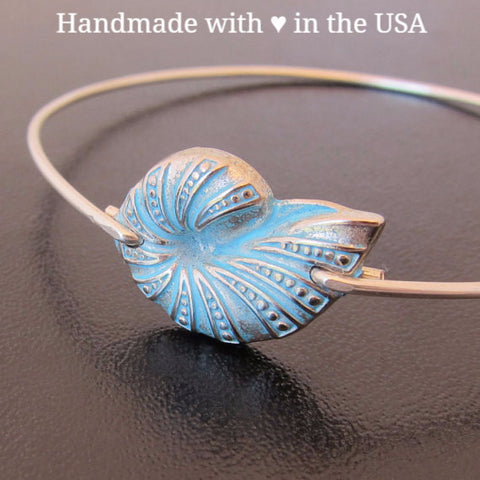 Nautilus Shell Bangle Bracelet (Silver or 925 Sterling)