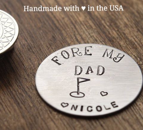 Personalized Golf Ball Marker 'Fore My Dad' w/ Custom Name