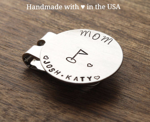 Personalized Mom Golf Marker with Hearts & 2 Names (Mother's Gift)