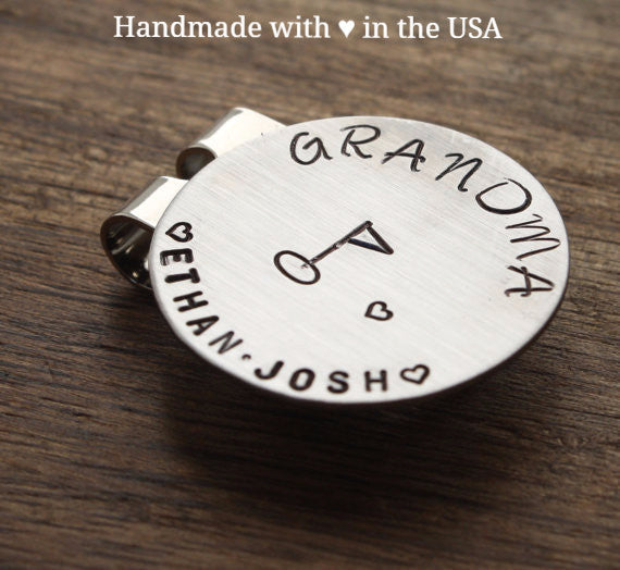 Personalized Grandma Golf Marker with Hearts & 2 Names (Grandmother Gift)