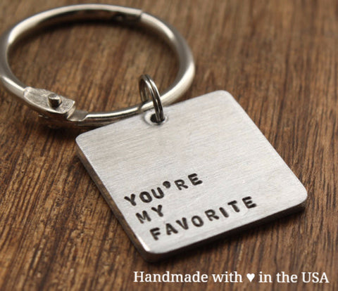 "Personalized ""You're My Favorite"" Keychain w/ Custom Initials & Date"