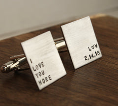 "Personalized ""I Love You More"" Cufflinks with Initials & Date"