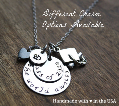 Personalized Graduation Necklace w/ Multiple Charms (Stainless Steel or Gold)