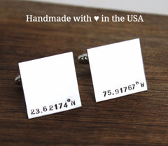 Personalized Coordinates Cufflinks - Latitude Longitude Location Cuff Links