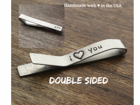 "Personalized Initials Tie Clip with Secret ""I Love You"" Message"