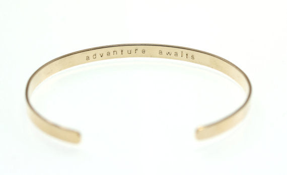 Personalized Cuff Bracelet - Letters, Dates, Numerals (14K Gold or Sterling Silver)