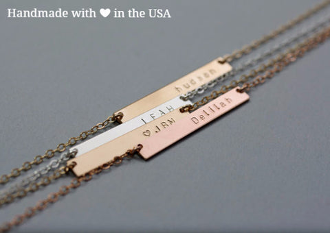 Personalized Skinny Custom Name Bar Necklace (Silver or Gold)