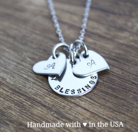 Personalized My Blessings Necklace Set w/ Heart Charm & Initials (Mother's Gift)