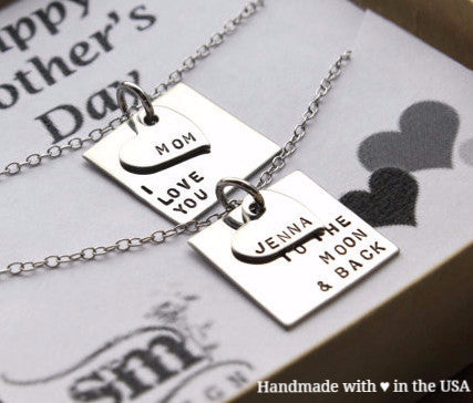 Personalized Matching Mother Daughter Necklace Set w/ Name (Love You to the Moon and Back)