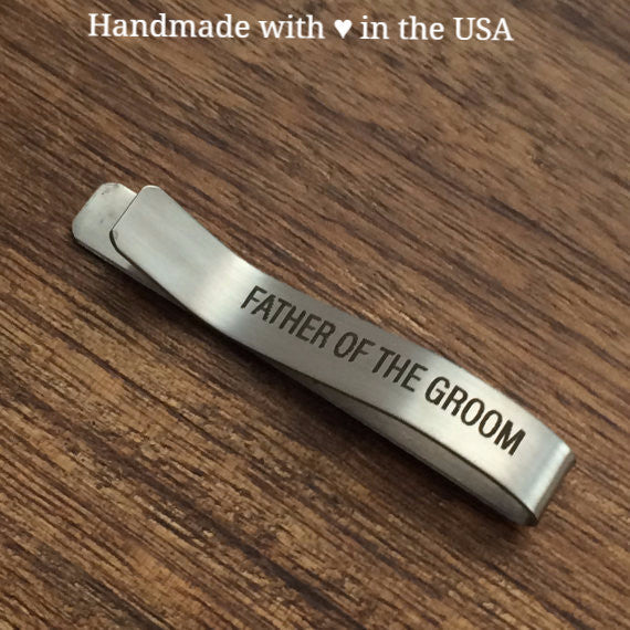 "Personalized ""Father of the Groom"" Tie Clip w/ Custom Initials"