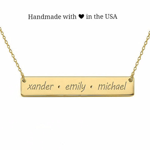 Personalized Gold Filled Bar Name Necklace with Custom Letters/Symbols
