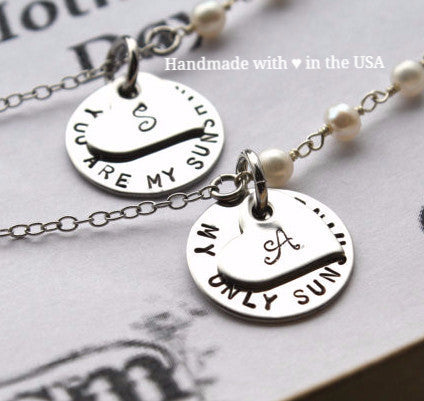 Personalized Matching Mother Daughter Necklace Set w/ Initials (You Are My Sunshine)