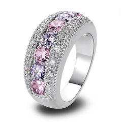 Round Pink & White Sapphire Gems On 925 Silver Band Ring