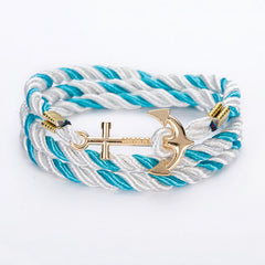 Rope Chain Bracelet With Bronze Or Gold Anchor - 19 Color Options