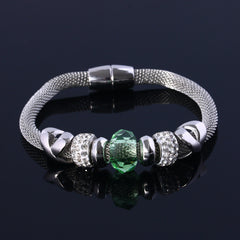 Silver Bracelet With Colored Charm - 10 Color Options
