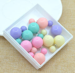 5 Pair Double Sided Simulated Pearl Stud Earrings - 3 Color Options