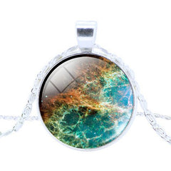 Galaxy Necklaces With Nebula Space Glass Cabochon Pendant