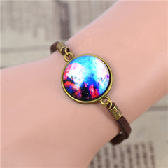 Galaxy Glass Bracelet With Suede Leather - 9 Styles