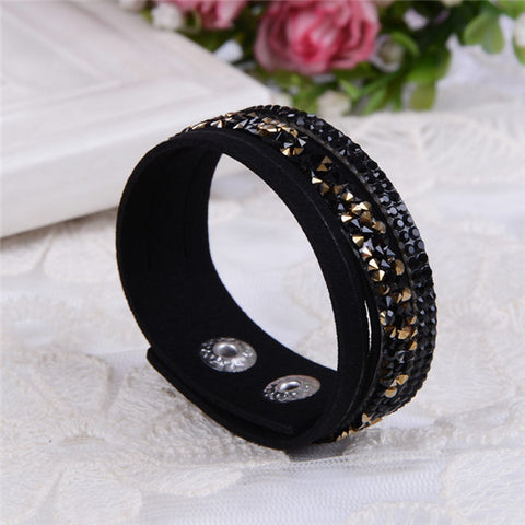 6 Layer Leather Bracelet With Crystals