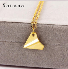 Cool Paper Airplane Pendant Necklace