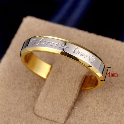 18k Gold Or Silver Plated 'Forever Love' Engraved Ring