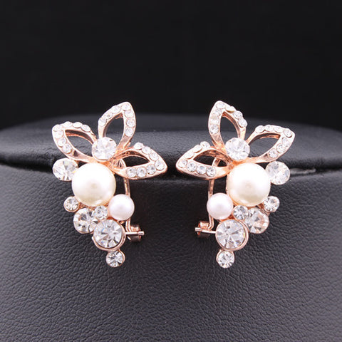 Pearl Flower With Cubic Zirconia Grape Crystal Stud Earrings - 18K Rose Gold or Silver Plated