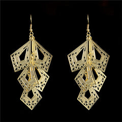 Vintage Style 18K Gold Plated Hollow Leaf Earrings