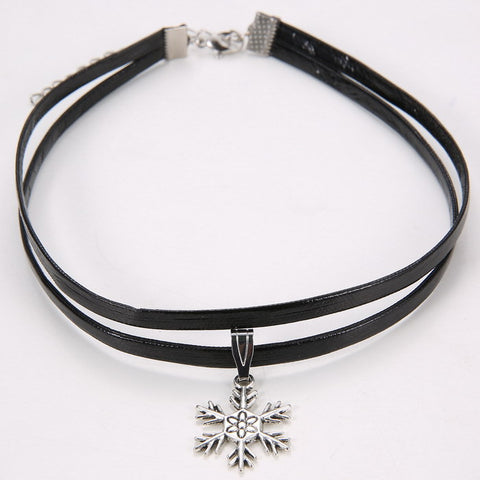 Faux Leather Choker Necklace With Charm Pendant - 11 Style Options
