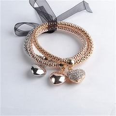 Multi-Layer 3pc Bracelet Set With Charm - 5 Style Options
