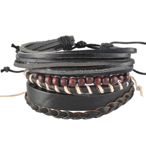 4pcs Braided Adjustable Leather Bracelet Set