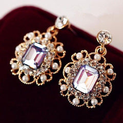 Gold Plated Crystal Drop Earrings - 3 Colors
