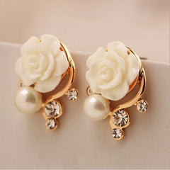 Rose Flower With Pearl Double Sided Stud Earrings - 9 Color Options