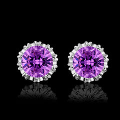 2 Carat Cubic Zirconia Solitaire Stud Earrings - 925 Sterling Silver or Gold Finish
