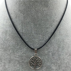 Faux Leather Necklace With Silver Pendant - 9 Pendant Styles