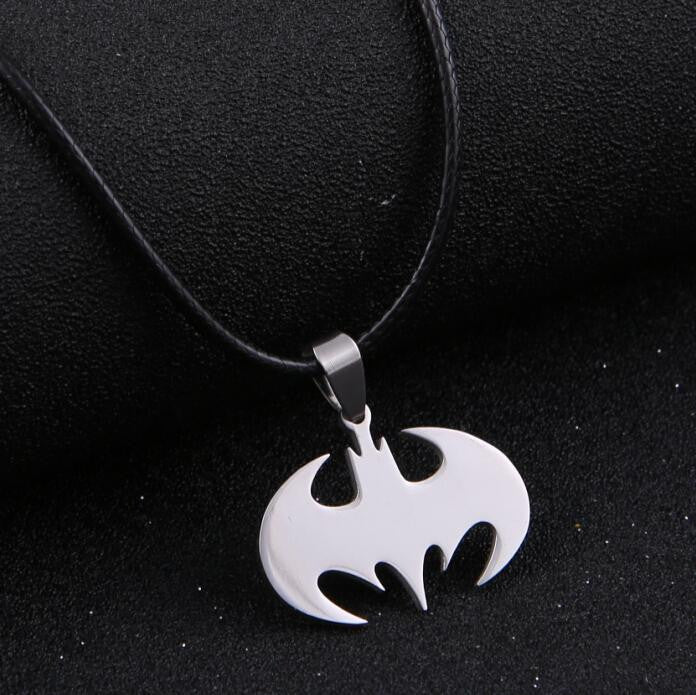 Stainless Steel Batman or Superman Sign Pendant Necklace