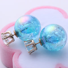 Colorful Pearl Double-Ball Stud Earring - 9 Color Options