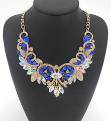 Crystal Flower Rhinestone Necklace With Gold Plated Choker Chain