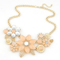 Floral Design Choker Pendant Necklace - 2 Color Options